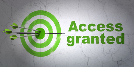access granted: Success safety concept: arrows hitting the center of target, Green Access Granted on wall background