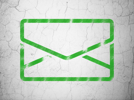 grungy email: Finance concept: Green Email on textured concrete wall background