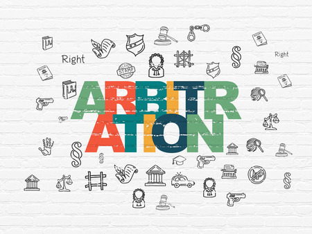 lex: Law concept: Painted multicolor text Arbitration on White Brick wall background with  Hand Drawn Law Icons Stock Photo
