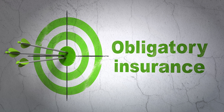 obligatory: Success Insurance concept: arrows hitting the center of target, Green Obligatory Insurance on wall background Stock Photo