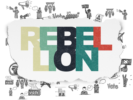 rebellion: Political concept: Painted multicolor text Rebellion on Torn Paper background with  Hand Drawn Politics Icons