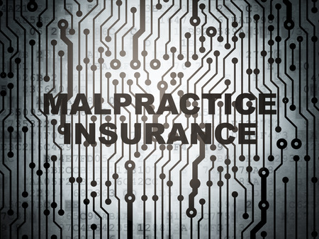 malpractice: Insurance concept: circuit board with  word Malpractice Insurance, 3d render Stock Photo