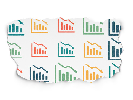 tearing down: News concept: Painted multicolor Decline Graph icons on Torn Paper background