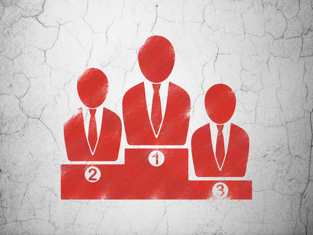 cement court: Law concept: Red Business Team on textured concrete wall background Stock Photo