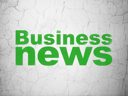 tabloid: News concept: Green Business News on textured concrete wall background Stock Photo