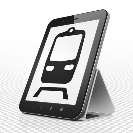 black train: Tourism concept: Tablet Computer with black Train icon on display