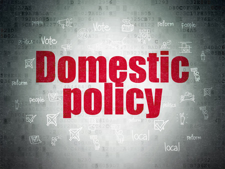 domestic policy: Politics concept: Painted red text Domestic Policy on Digital Paper background with  Hand Drawn Politics Icons