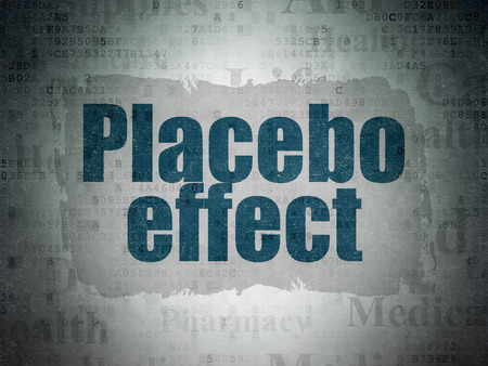 placebo: Healthcare concept: Painted blue text Placebo Effect on Digital Paper background with   Tag Cloud Stock Photo