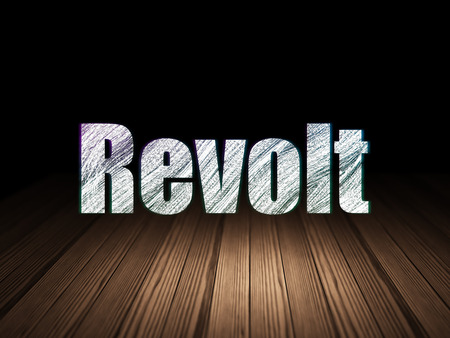 revolt: Political concept: Glowing text Revolt in grunge dark room with Wooden Floor, black background