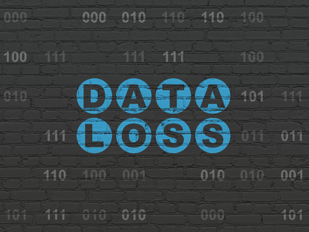 data loss: Information concept: Painted blue text Data Loss on Black Brick wall background with Binary Code