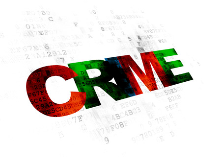 crime: Security concept: Pixelated multicolor text Crime on Digital background