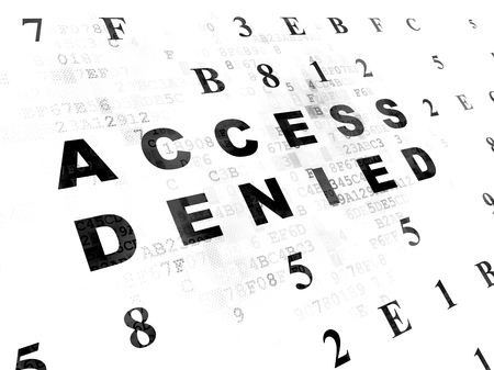 passkey: Privacy concept: Pixelated black text Access Denied on Digital wall background with Hexadecimal Code Stock Photo