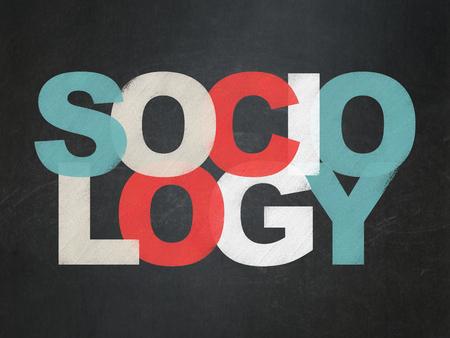 sociologia: El estudio de concepto: Pintado Sociología texto multicolor en el fondo de la Junta Escolar Foto de archivo