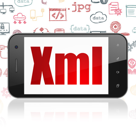 xml: Software concept: Smartphone with  red text Xml on display,  Hand Drawn Programming Icons background Stock Photo