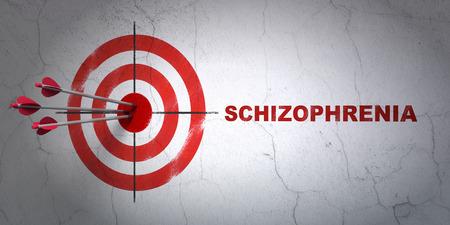esquizofrenia: Concepto de la salud del éxito: flechas golpear el centro de destino, Rojo esquizofrenia en el fondo de la pared