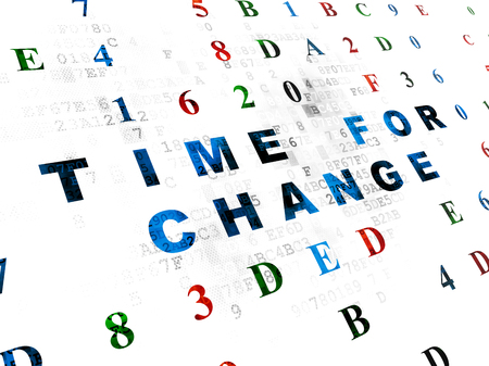 hexadecimal: Time concept: Pixelated blue text Time for Change on Digital wall background with Hexadecimal Code Stock Photo