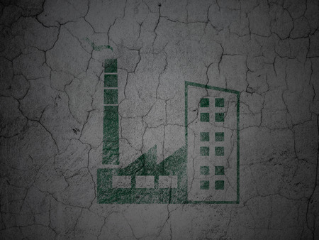 abandoned warehouse: Industry concept: Green Industry Building on grunge textured concrete wall background