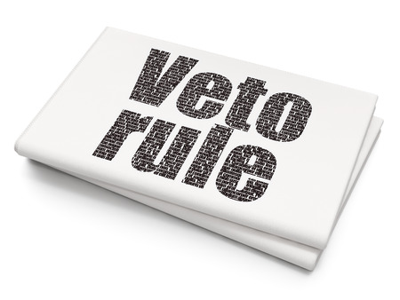 veto: Political concept: Pixelated black text Veto Rule on Blank Newspaper background