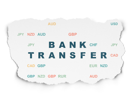 bank transfer: Currency concept: Painted blue text Bank Transfer on Torn Paper background with  Currency