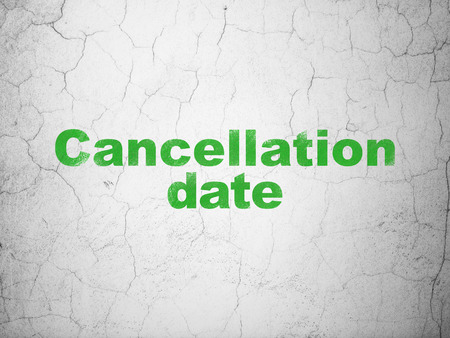 cancellation: Law concept: Green Cancellation Date on textured concrete wall background Stock Photo
