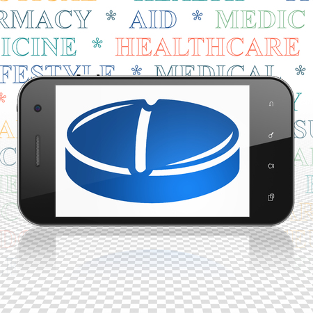 healing touch: Healthcare concept: Smartphone with  blue Pill icon on display,  Tag Cloud background