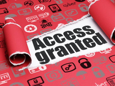 access granted: Security concept: black text Access Granted under the curled piece of Red torn paper with  Hand Drawn Security Icons Stock Photo