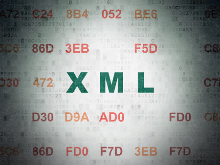 xml: Software concept: Painted green text Xml on Digital Paper background with Hexadecimal Code