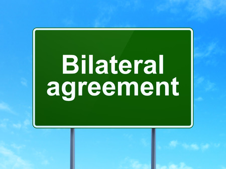 bilateral: Insurance concept: Bilateral Agreement on green road highway sign, clear blue sky background, 3d render Stock Photo