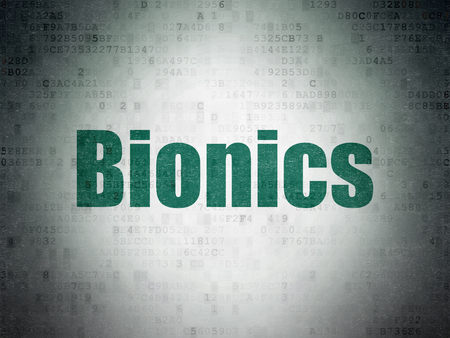 bionics: Science concept: Painted green word Bionics on Digital Paper background