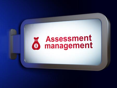 deal making: Business concept: Assessment Management and Money Bag on advertising billboard background, 3d render Stock Photo