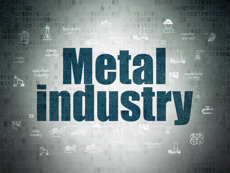 drawn metal: Industry concept: Painted blue text Metal Industry on Digital Paper background with  Hand Drawn Industry Icons