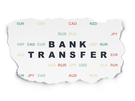 bank transfer: Banking concept: Painted black text Bank Transfer on Torn Paper background with  Currency