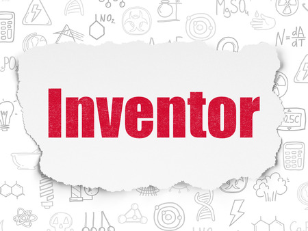 inventor: Science concept: Painted red text Inventor on Torn Paper background with  Hand Drawn Science Icons