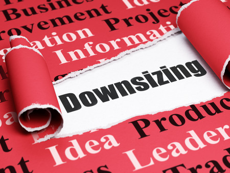downsizing: Business concept: black text Downsizing under the curled piece of Red torn paper with  Tag Cloud Stock Photo