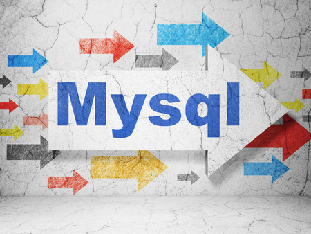 mysql: Programming concept:  arrow with MySQL on grunge textured concrete wall background