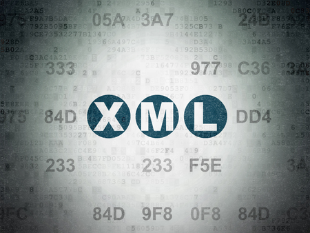 xml: Programming concept: Painted blue text Xml on Digital Paper background with Hexadecimal Code