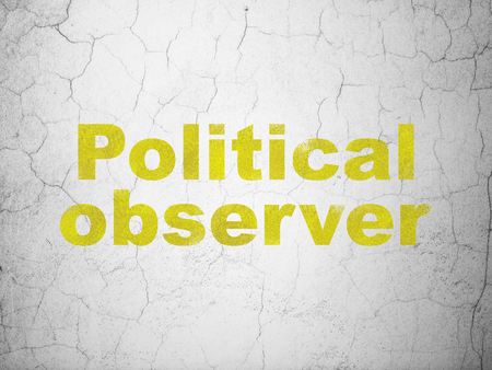 dictatorship: Politics concept: Yellow Political Observer on textured concrete wall background
