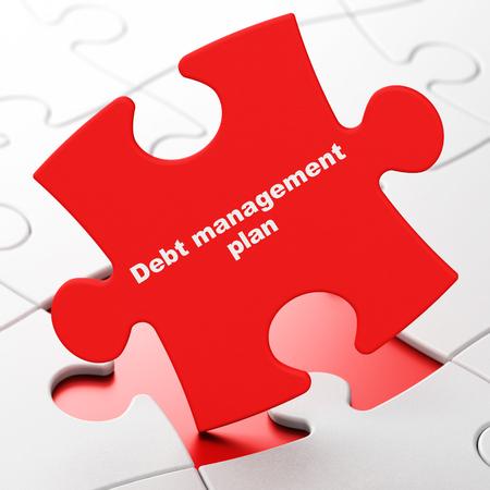 debt management: Business concept: Debt Management Plan on Red puzzle pieces background, 3d render