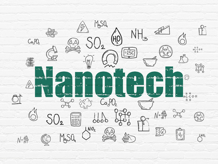 nanotech: Science concept: Painted green text Nanotech on White Brick wall background with  Hand Drawn Science Icons