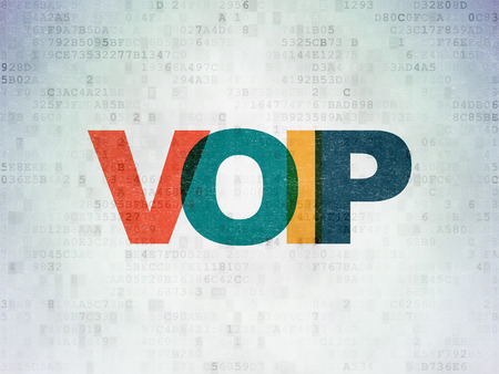 voip: Web development concept: Painted multicolor text VOIP on Digital Paper background