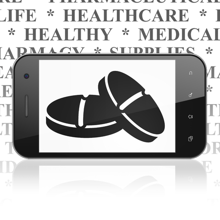 healing touch: Health concept: Smartphone with  black Pills icon on display,  Tag Cloud background Stock Photo