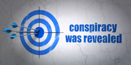 revealed: Success political concept: arrows hitting the center of target, Blue Conspiracy Was Revealed on wall background Stock Photo