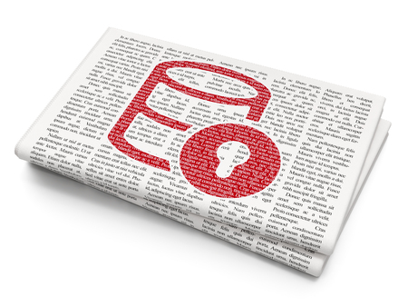 cylinder lock: Programming concept: Pixelated red Database With Lock icon on Newspaper background
