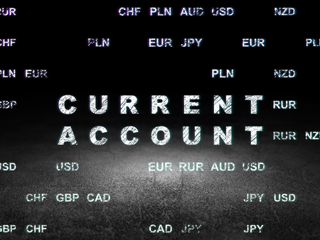 current account: Currency concept: Glowing text Current Account in grunge dark room with Dirty Floor, black background with Currency Stock Photo