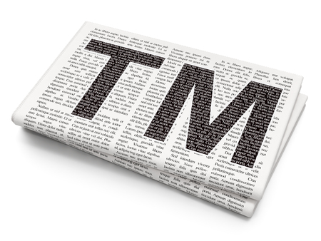 trademark: Law concept: Pixelated black Trademark icon on Newspaper background