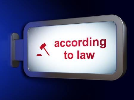 according: Law concept: According To Law and Gavel on advertising billboard background, 3d render