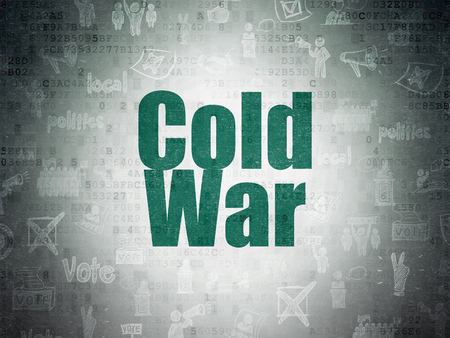 cold war: Politics concept: Painted green text Cold War on Digital Paper background with   Hand Drawn Politics Icons Stock Photo