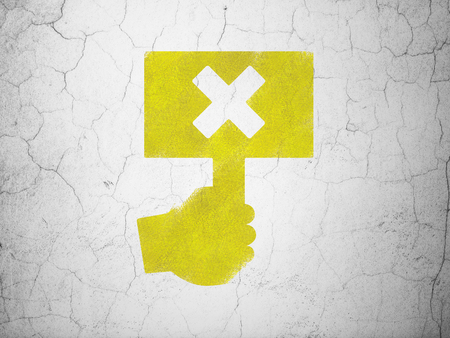 protest: Political concept: Yellow Protest on textured concrete wall background Stock Photo