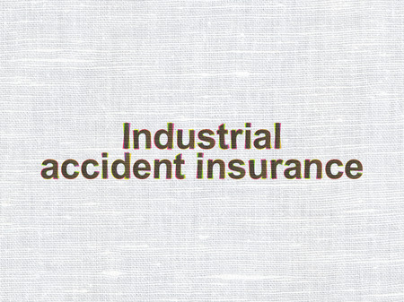 industrial accident: Insurance concept: CMYK Industrial Accident Insurance on linen fabric texture background