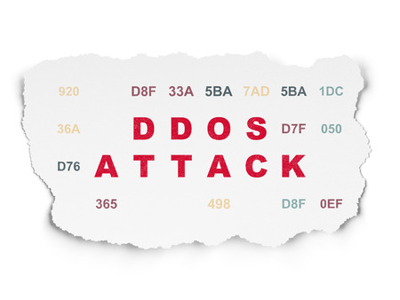 hexadecimal: Security concept: Painted red text DDOS Attack on Torn Paper background with  Hexadecimal Code
